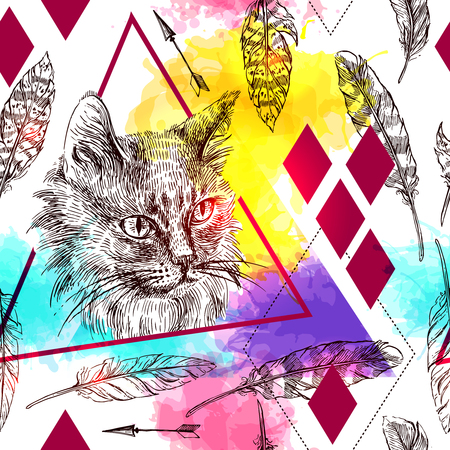 seamless pattern sketching of cat.
