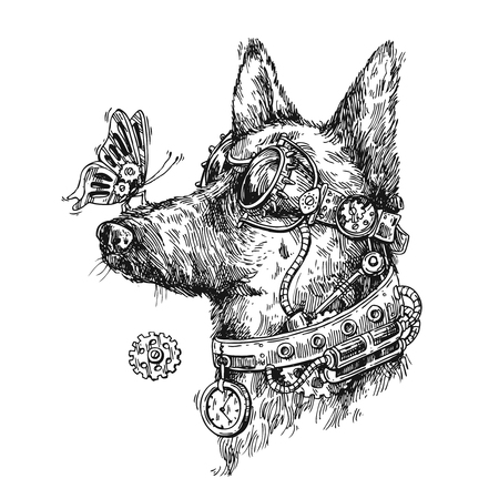 steampunk goggles: Hand drawn vector sketch of dog. Steampunk style illustration.