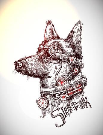 손으로 그려진 된 벡터 스케치 강아지입니다. Steampunk 스타일 그림입니다.