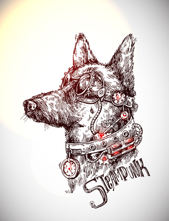Hand drawn vector sketch of dog. Steampunk style illustration.