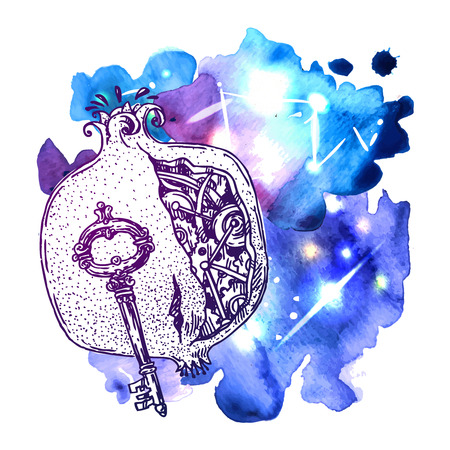 Beautiful hand drawn vector illustration mechanical pomegranate. Steampunk style. Good for invitations, covers for smartphones, textiles, t-shirts, postcards, rock festival.
