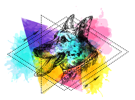 Hand drawn vector illustration dog with tongue. Sketch style drawing. Symbol of 2018 new year. Us for Invitations, flyers, postcards, smartphone covers etc Illustration