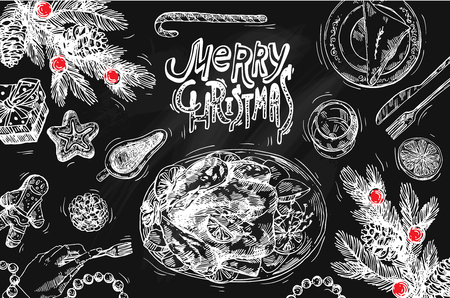 Hand drawn sketch illustration christmas food. Sketch style drawing. Us for Invitations, flyers, postcards, web etc