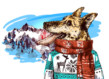 Hand drawn vector illustration dog with tongue on mountains background. Sketch style drawing. Symbol of 2018 new year. Us for Invitations, flyers, postcards, smartphone covers etc
