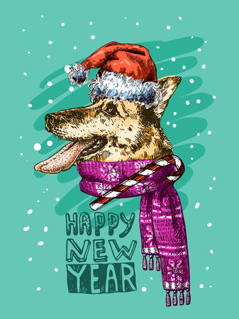 Hand drawn vector illustration dog with tongue. Sketch style drawing. Symbol of 2018 new year. Us for Invitations, flyers, postcards, smartphone covers etc Stock Photo