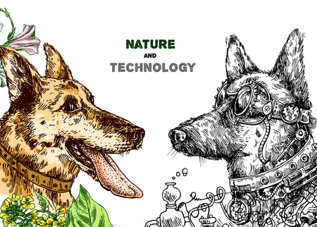 Hand drawn vector illustration dog with tongue and steampunk dog. Sketch style drawing. Symbol of 2018 new year. Us for Invitations, flyers, postcards, smartphone covers etc