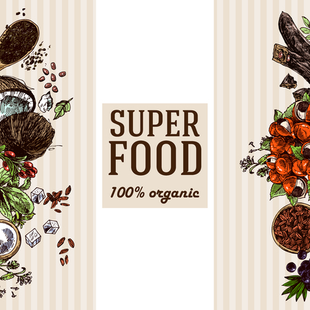 Hand drawn vector colored illustration  super foods banner or flyer background design. Sketch style drawing. Goji berries, acai, stevia, coconut, guarana, kerob, chia seeds. Illustration
