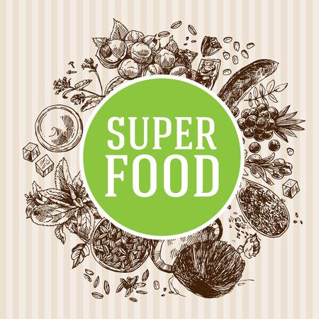 Hand drawn vector illustration superfoods. Sketch style drawing. Goji berries, acai, stevia, coconut, guarana, kerob, chia seeds. Stock Vector - 90176540