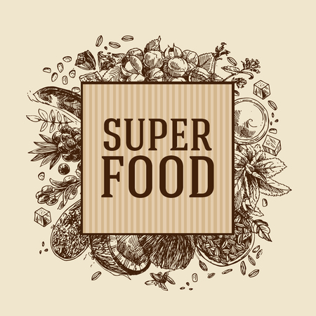 Hand drawn vector illustration superfoods.