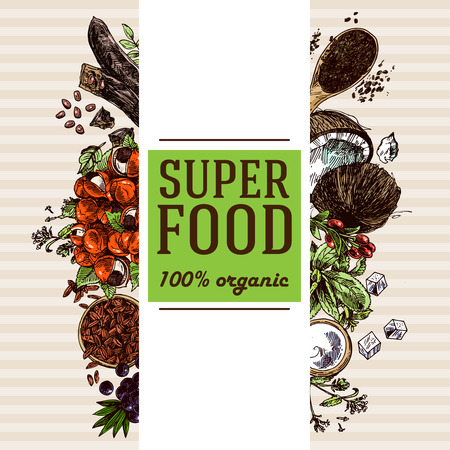 Hand drawn vector illustration of super foods for flyers, banner, invitation background. Sketch style drawing. Goji berries, acai, stevia, coconut, guarana, kerob, chia seeds.