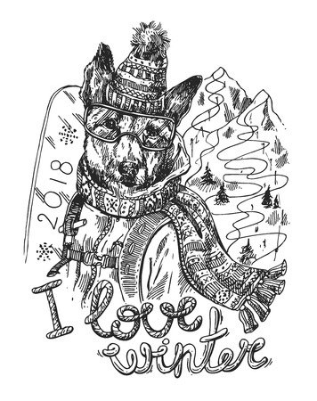 Hand drawn vector print I love winter. Çizim