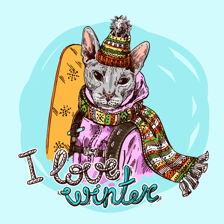 Hand drawn vector print I love winter. Illustration