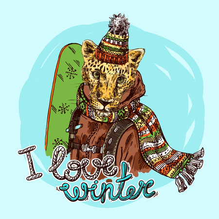 Hand drawn vector print I love winter. Ilustracja