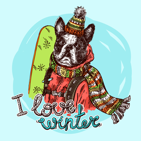 Hand drawn vector print I love winter. Dog  with snowboard. Sketch style drawing.