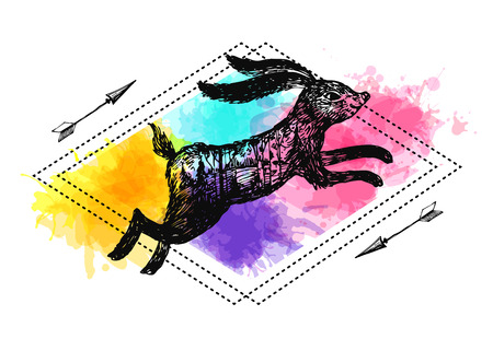 Hand drawn vector illustration rabbit with double exposure.