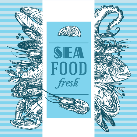 Hand drawn vector illustration sea food. Vintage sketch style good for menu.