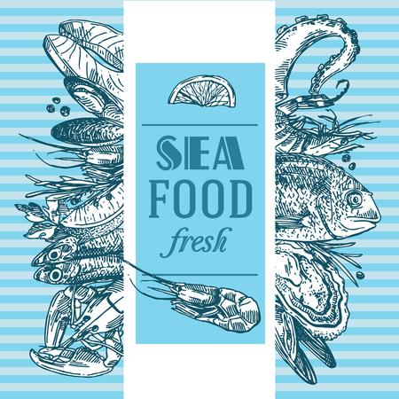 Hand drawn vector illustration sea food. Vintage sketch style good for menu.