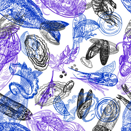 Hand drawn vector seamless pattern sea food. Vintage sketch style good for menu. Vettoriali