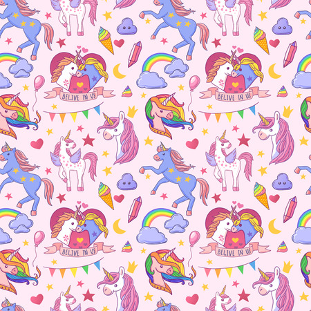 Beautiful hand drawn vector seamless pattern unicorn Ilustração