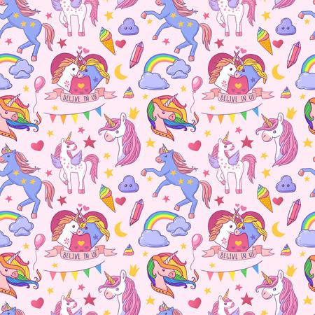 Beautiful hand drawn vector seamless pattern unicorn Illustration