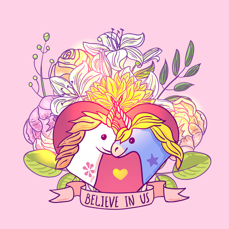 Beautiful hand drawn vector illustration unicorn. Illustration