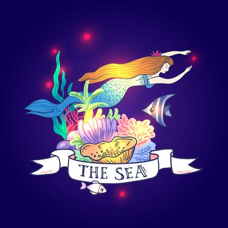 Cartoon mermaid image illustration Illustration