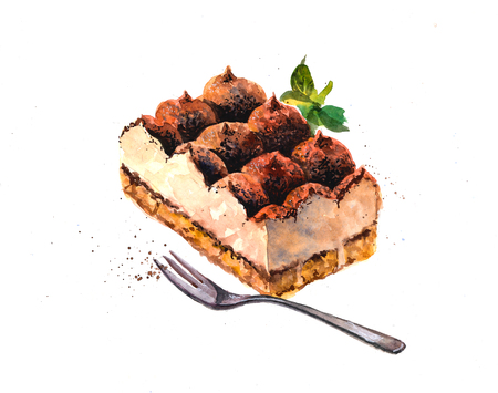 Hand drawn watercolor illustration tiramisu.