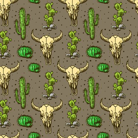 cactus and skull of bull