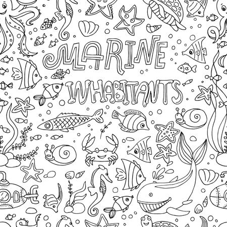 seamless pattern marine inhabitants background. Ilustrace