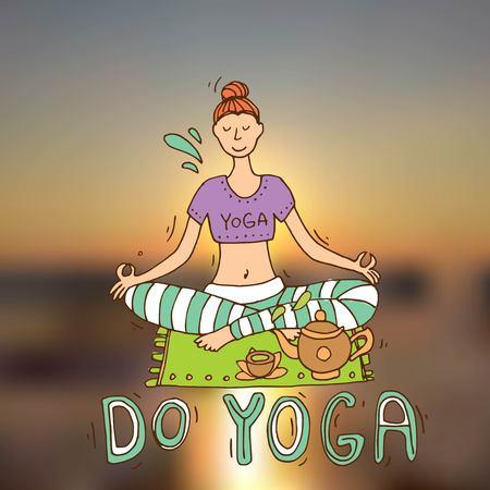 Beautiful hand drawn illustration do yoga. Illustration