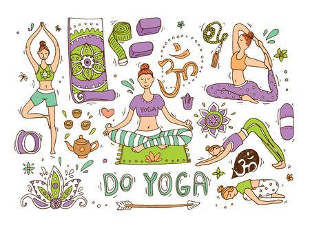 Beautiful hand drawn illustration do yoga.