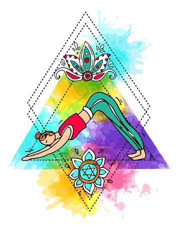 Beautiful hand drawn illustration do yoga