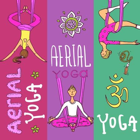 Beautiful hand drawn illustration aerial yoga.