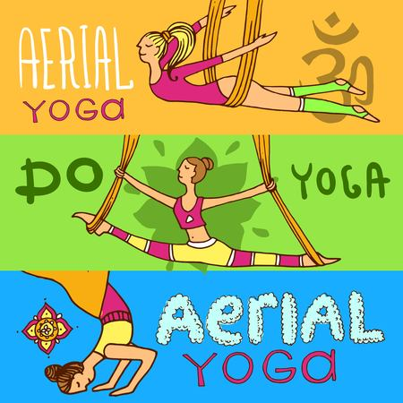 Beautiful hand drawn illustration aerial yoga.