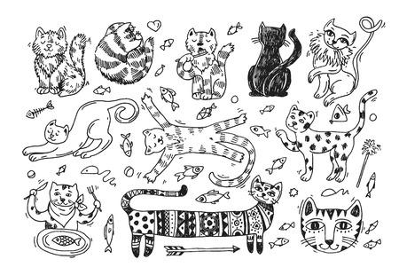 Beautiful hand drawn vector illustration cute cats.