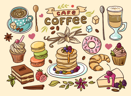 Beautiful hand drawn vector illustration coffee and sweets.