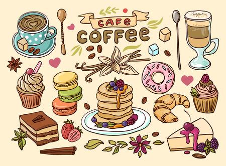 Café y dulces hermosos dibujados a mano del ejemplo del vector.
