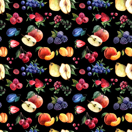 Beautiful hand drawn watercolor seamless pattern berries and fruits