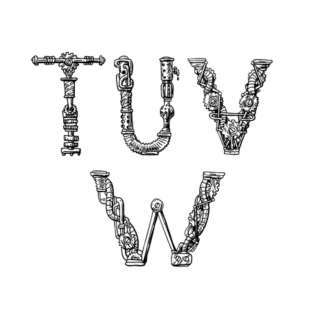 Graphic mechanical hand drawn alphabet. Steampunk style letters for your logo.