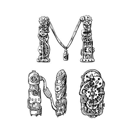 Alfabeto dibujado a mano mecánico gráfico. Letras de estilo steampunk para tu logo. Logos