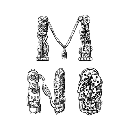 Graphic mechanical hand drawn alphabet. Steampunk style letters for your logo. Logo