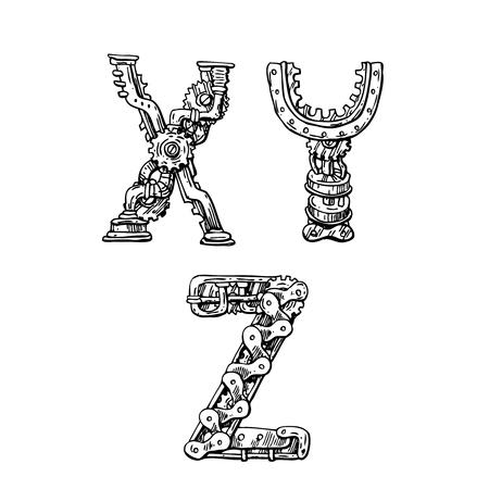 Alfabeto disegnato a mano meccanico grafico. Lettere in stile steampunk per il tuo logo.