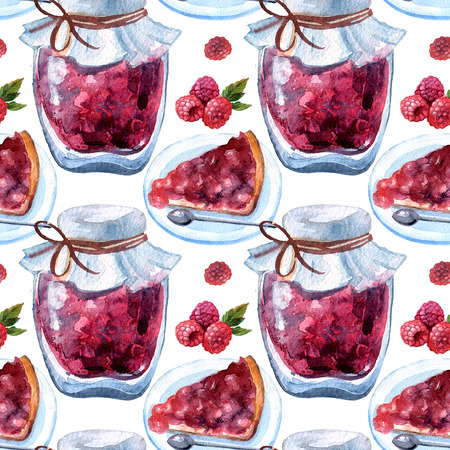 Beautiful hand drawn watercolor seamless pattern with jam in jar Фото со стока