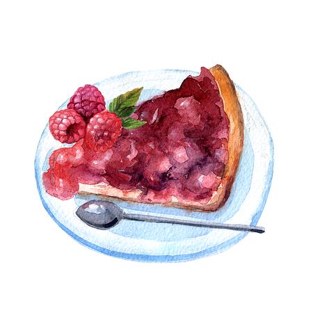 Beautiful hand drawn watercolor illustration isolated raspberry Stock Photo