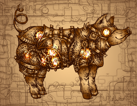Hand drawn vector illustration steampunk pig. Sketch style drawing