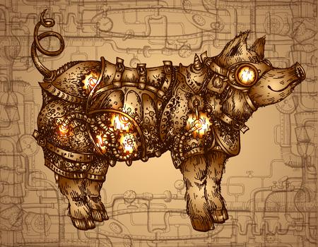 Ręcznie rysowane wektor ilustracja steampunk świnia. Rysunek w stylu szkicu