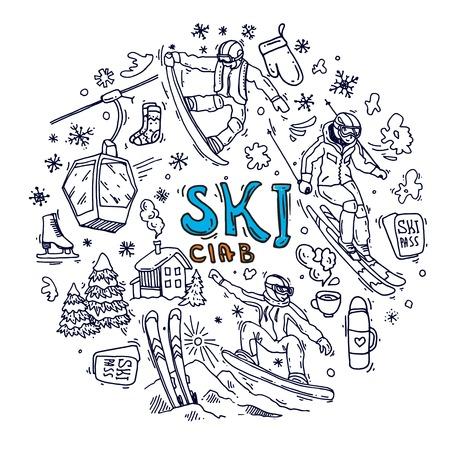 Beau sport d'hiver d'illustration vectorielle dessinés à la main.