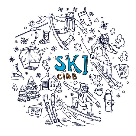 Beautiful hand drawn vector illustration winter sport.