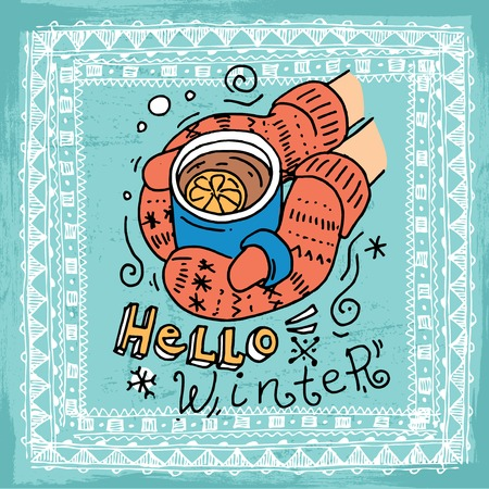 Beautiful hand drawn vector illustration winter sport activites. Doodle style drawing. Ilustracja