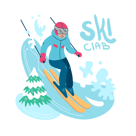 Beautiful flat vector illustration winter sport activites. Skiing. Banque d'images - 127711503